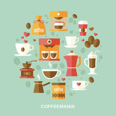 Kaffe platt cirkel vektor