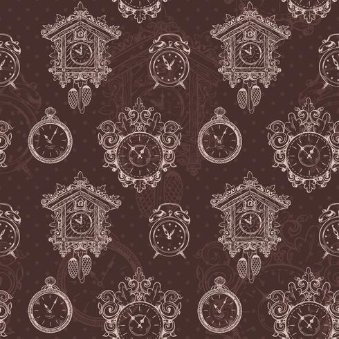 Nahtloses Muster der alten Weinleseuhr vektor