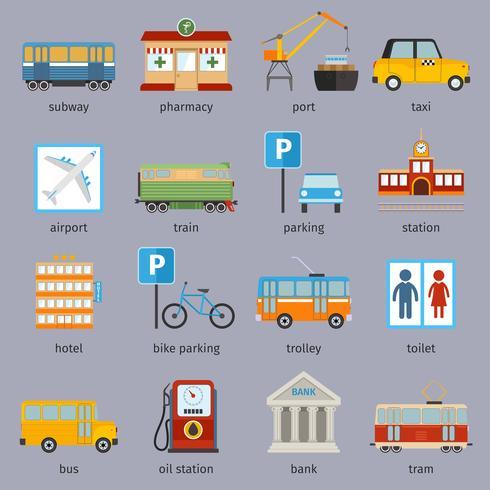 Symbole für die Stadtinfrastruktur vektor