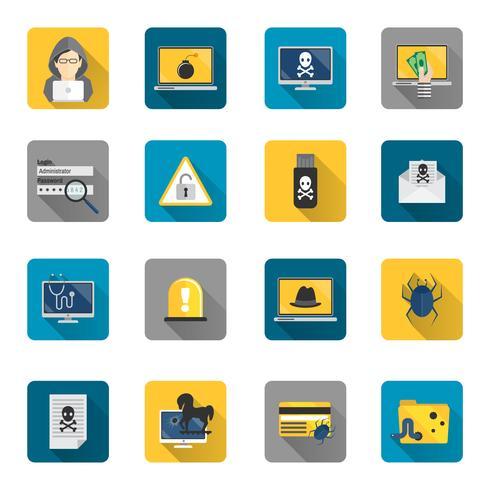 Hacker ikoner platt knappar vektor