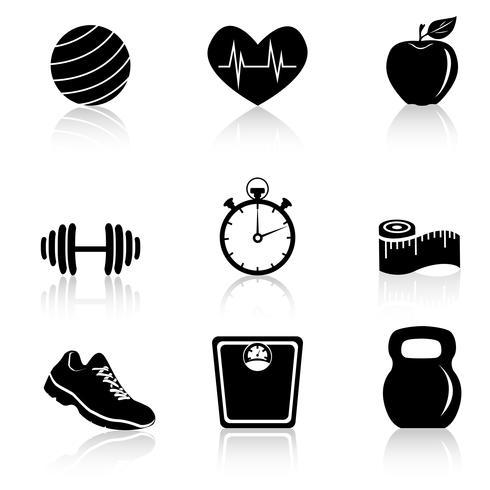 Fitness svarta ikoner vektor