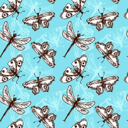 Nahtloses Muster der Schmetterlinge und der Libellen vektor