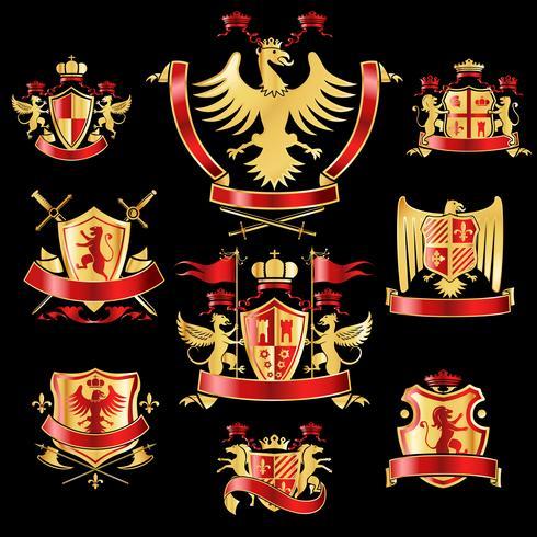Heraldiska etiketter guldröd vektor