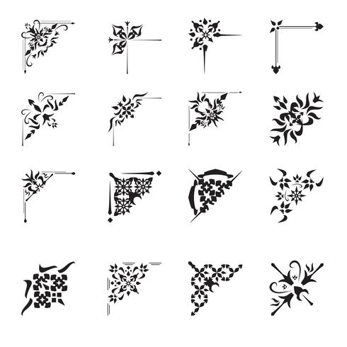 Ornamental Design Ecken gesetzt vektor