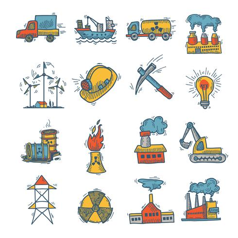 Industrielle Skizze Icon Set vektor
