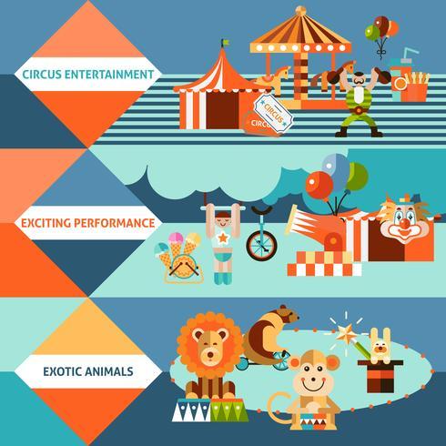 Cirkus ikoner flat banner set vektor