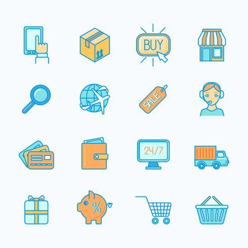 Shopping e-handelsikoner sätta fast linje vektor