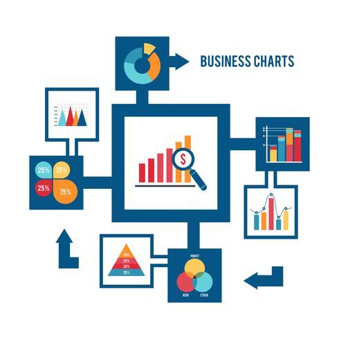 Geschäftsdiagrammikonen eingestellt vektor