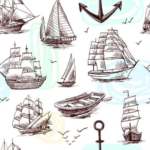 Fartyg och båtar skissar sömlöst mönster vektor