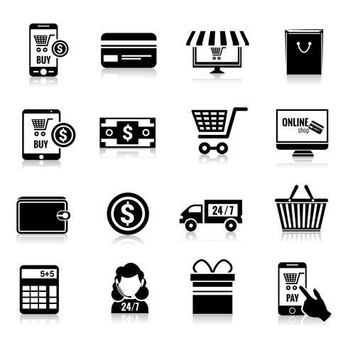 E-handelsikoner sätta svart vektor