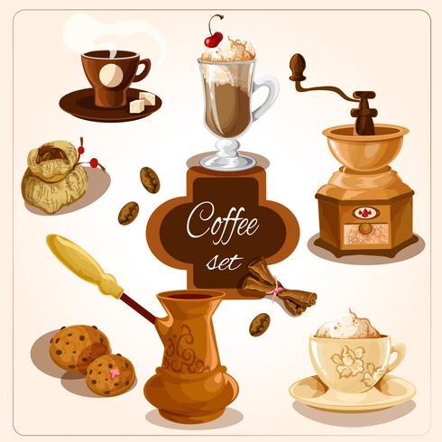 Kaffe dekorativa uppsättning vektor