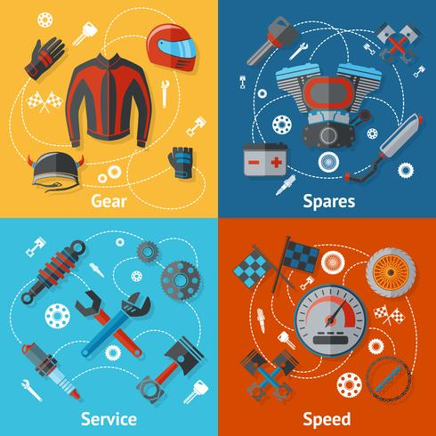 Flache Teile für Motorradteile vektor