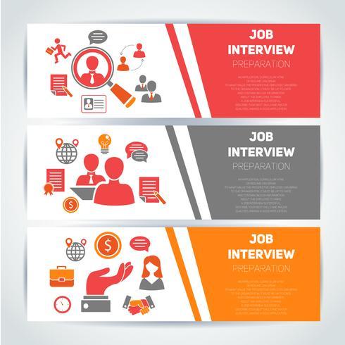 Jobbintervju flat banner set vektor