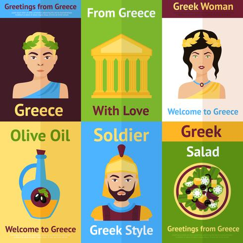 Griechenland Mini-Poster-Set vektor
