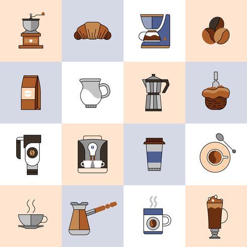Kaffe ikoner platt linje uppsättning vektor