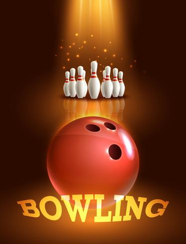 Bowling-Spiel-Poster vektor