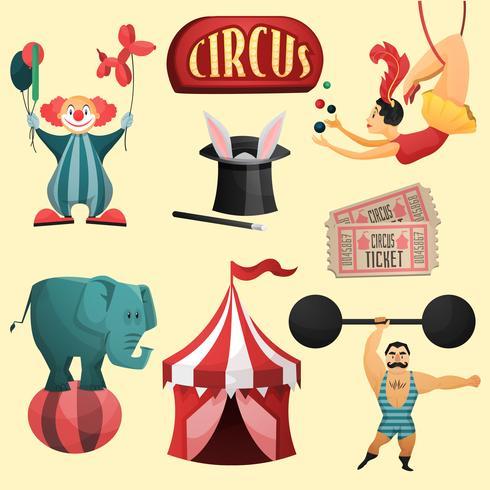 Cirkus dekorativa uppsättning vektor
