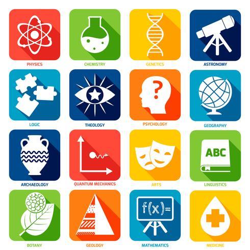 Wissenschaftsbereiche Icons vektor