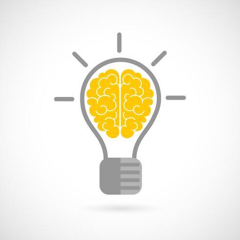 Menschliches Gehirn in Glühlampe flach vektor