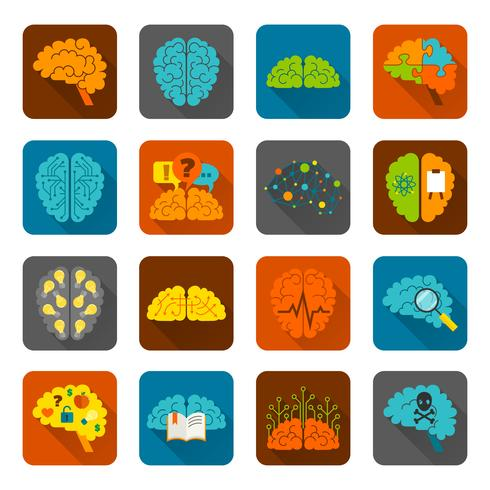 Brain ikoner platt set vektor