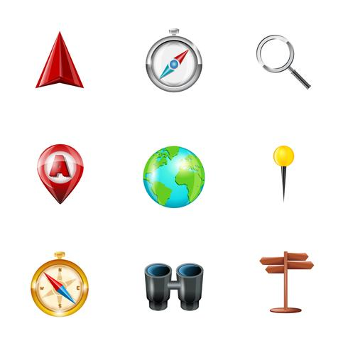 Navigationssymbole realistisch gesetzt vektor
