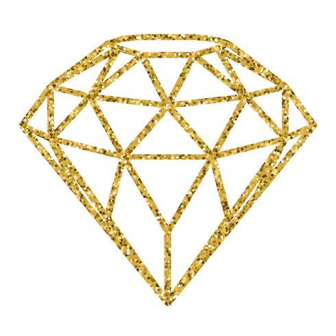 Geometrisk guldglitter diamant isolerad på vit bakgrund. vektor