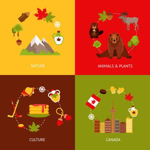 Kanada platta ikoner uppsättning vektor