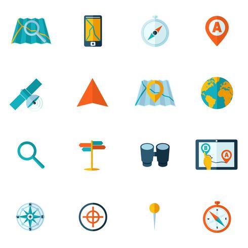 Navigation ikon platt set vektor