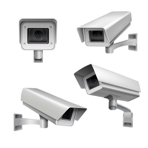 Övervakningskamera set vektor