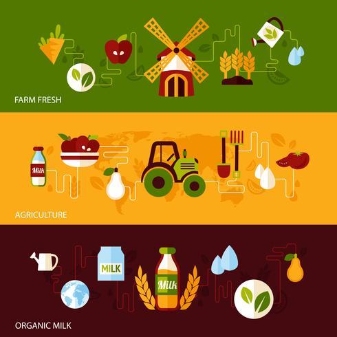 Landwirtschaft Banner gesetzt vektor