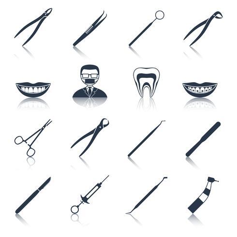 Ikonen der zahnmedizinischen Instrumente schwarz eingestellt vektor