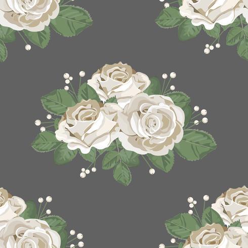 Retro blommigt sömlöst mönster. Vita rosor på mörk bakgrund. Vektor illustration