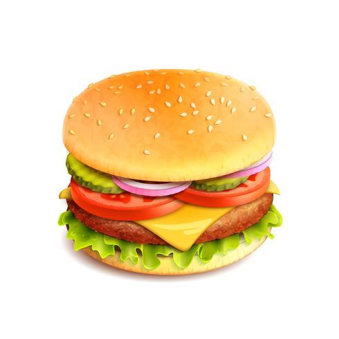 Hamburger Realistiska Isolerade vektor