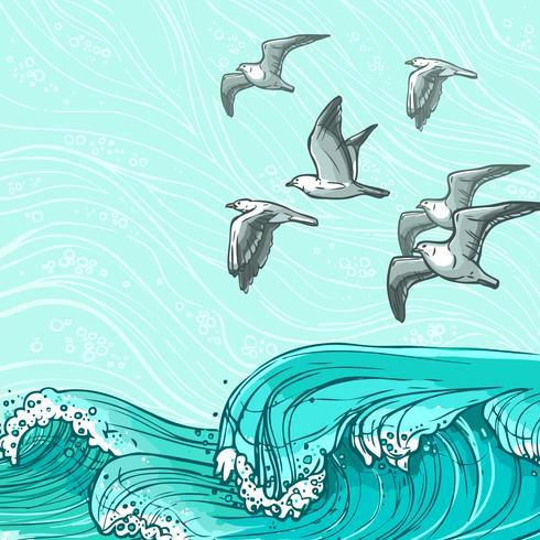 Havsvågor bakgrund vektor