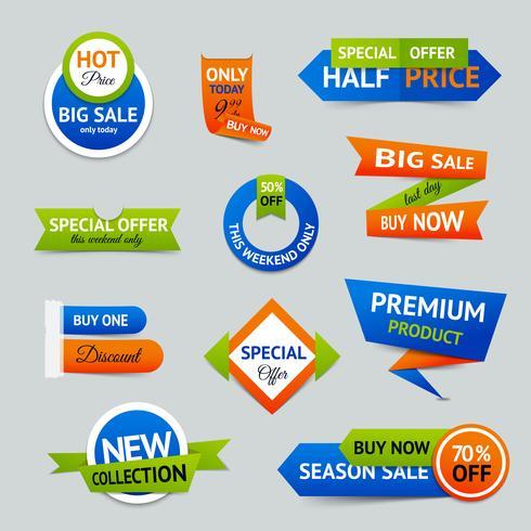 Verkauf Rabatt Origami Banner vektor