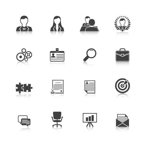 Mänskliga resurser svarta ikoner uppsättning vektor