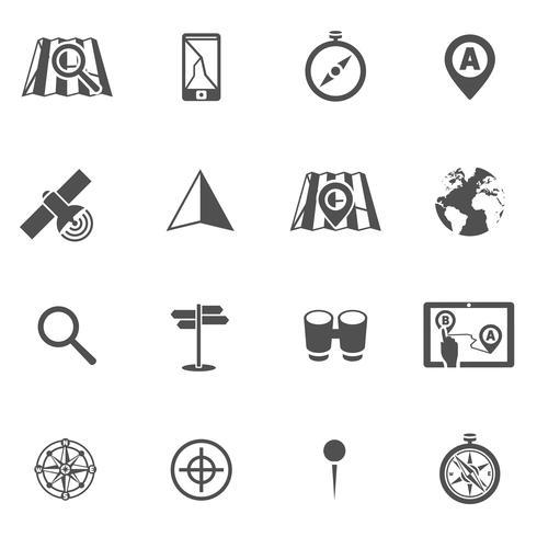 Navigation ikon svart uppsättning vektor