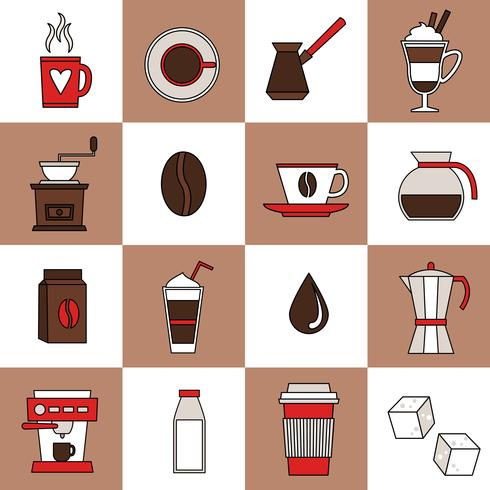 Kaffe ikoner platt linje vektor
