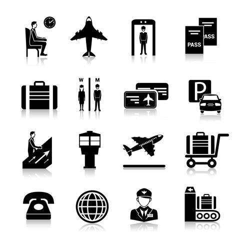 Flughafen-Icons schwarz vektor