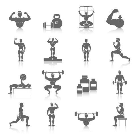 Bodybuilding-Ikonen eingestellt vektor
