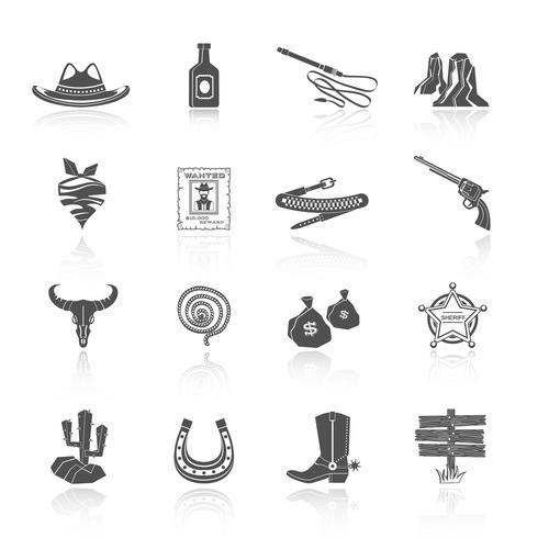 Cowboy Icons schwarz vektor