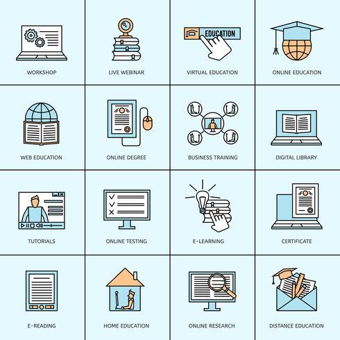 Inställningar för online utbildningssymboler vektor