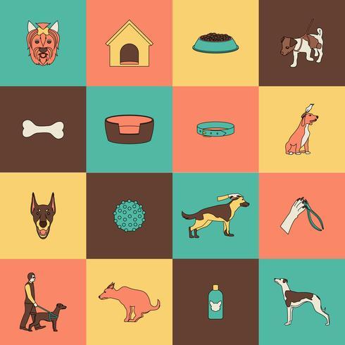 Hund Symbole flache Linie vektor