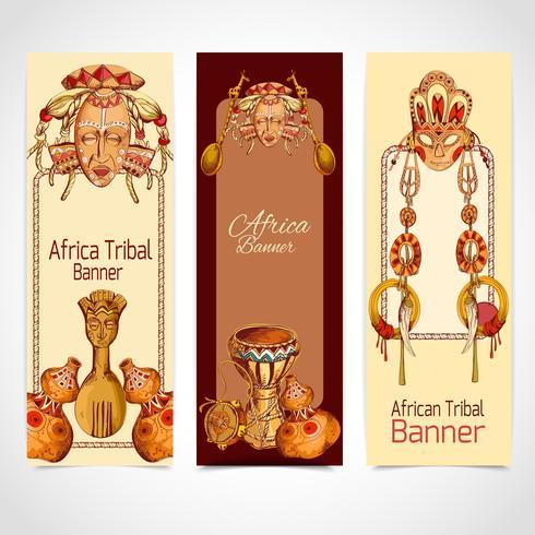 Afrika skissar färgade banners vertikala vektor