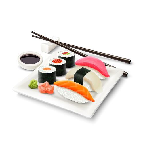 sushi realistiska uppsättning vektor