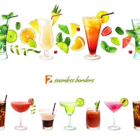Cocktail sömlös gräns vektor