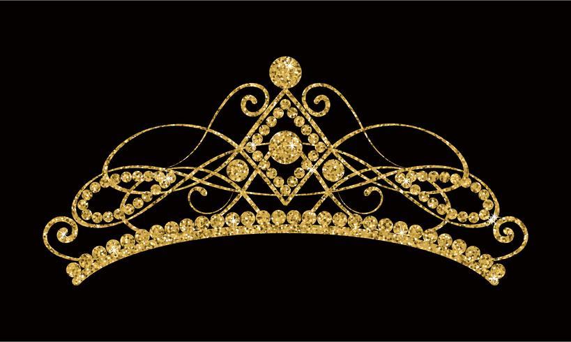 Glittrande Diadem. Guld tiara isolerad på svart bakgrund. vektor