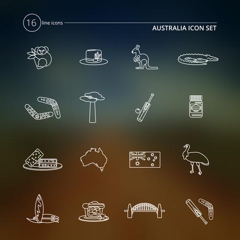 Australien Icons Set Gliederung vektor