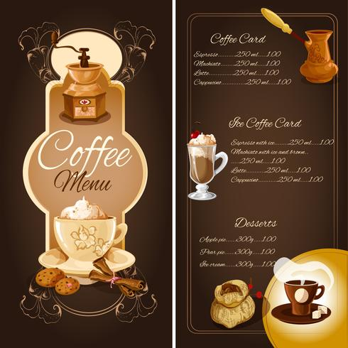 Kaffekafémeny vektor