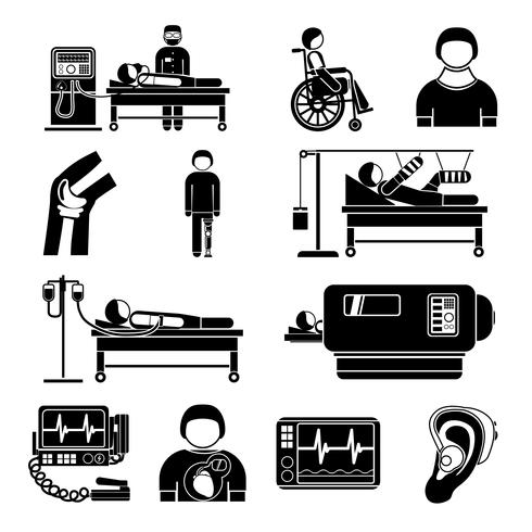 Livsstöd medicintekniska ikoner vektor